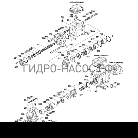 Запчасти насоса Hyundai R200W-7A